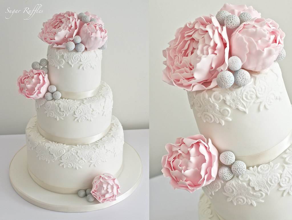 Pink Peony Wedding Cake With Lace Detail