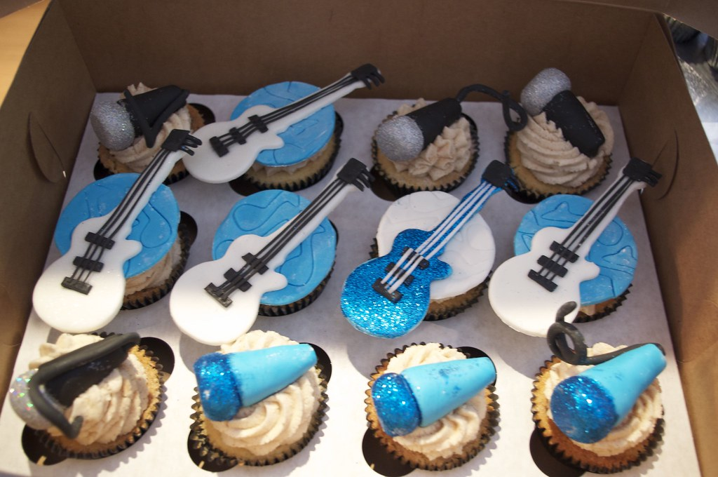 Fondant Microphones And Guitars Cupcake Toppers From Roone