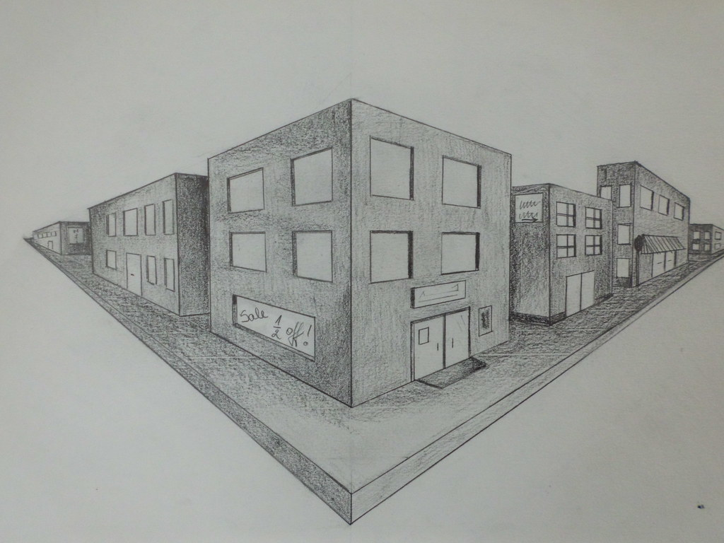 Two Point Perspective Drawing Of The City The Learning