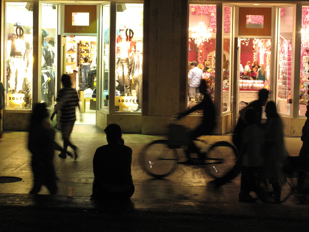 People Walking the Street at Night   Miami Beach's Lincoln ...