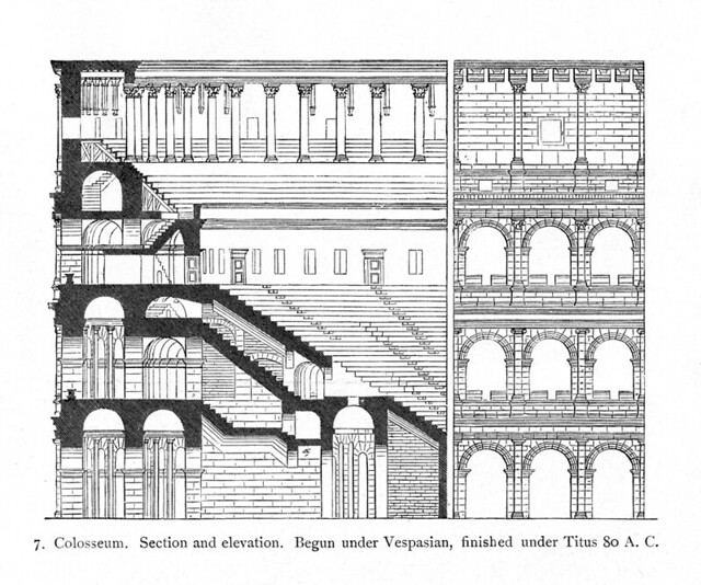 Colosseum: reconstruction section and elevation | Flickr ...
