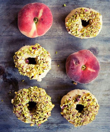 Peach Donuts Glazed with White Chocolate & Pistachios | by Ninaroid