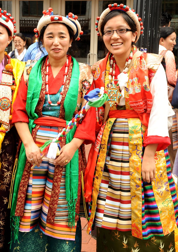 Two Lovely Glowing Tibetan Women In Bright Silk Chubas Bl