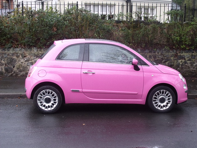 ampton road edgbaston pink car fiat 500 on a snowy ap flickr photo sharing. Black Bedroom Furniture Sets. Home Design Ideas