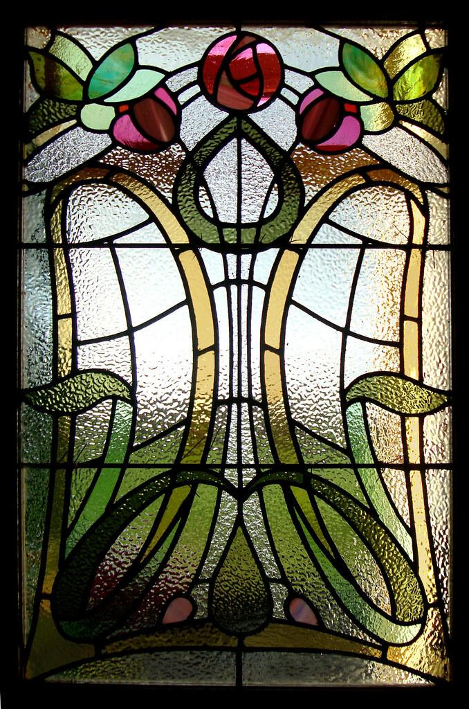 Art nouveau butterfly stained glass door dunfermline flickr for Deco glass bilder kuche
