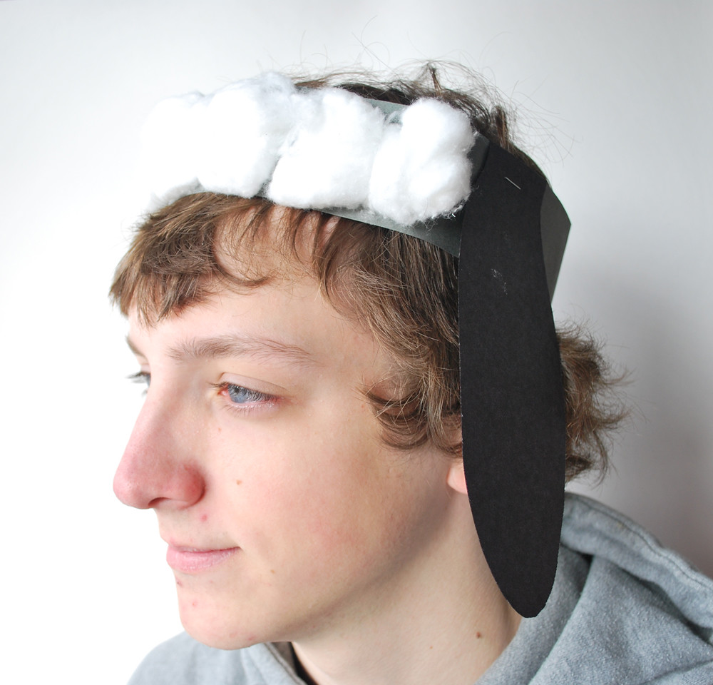 Sheep Hat | construction paper strip and ears + cotton ...