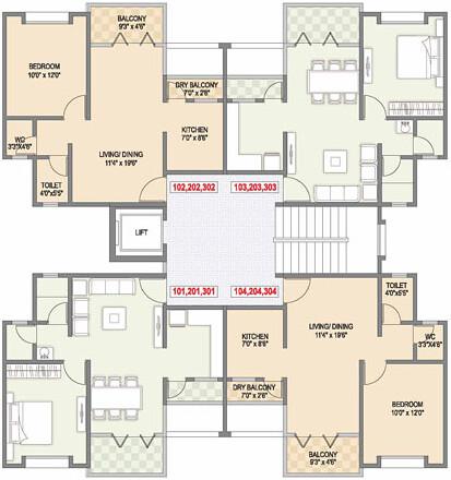Gulmohar county talegaon 1 bhk flat with dry balcony floor for 1 bhk apartment design