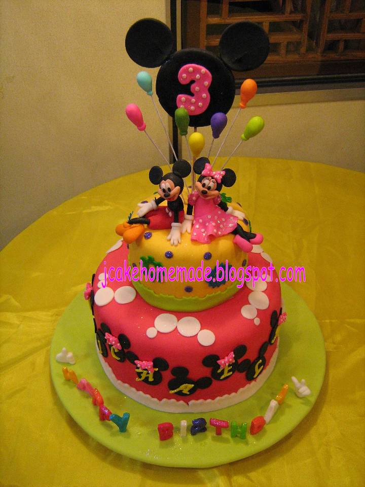 Mickey Mouse And Minnie Mouse Birthday Cake Happy 3rd