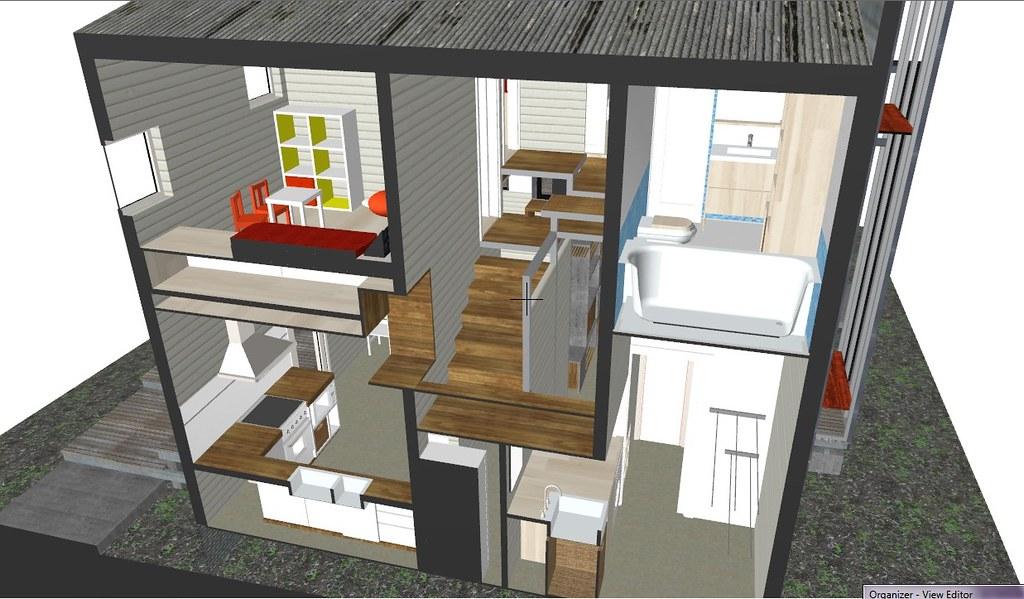 Corte trasversal detalle escalera y ventanita a la cocina for Escalera de cocina