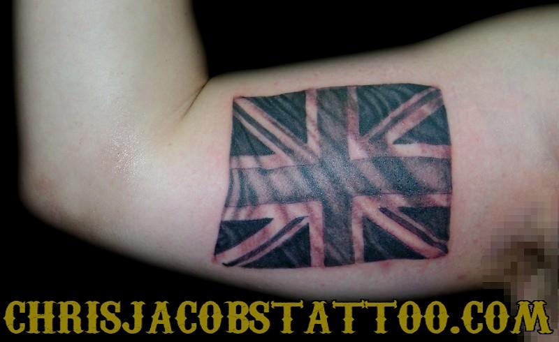 Schoudertas Union Jack : Union jack tattoo by chris jacobs the trainyard teahouse
