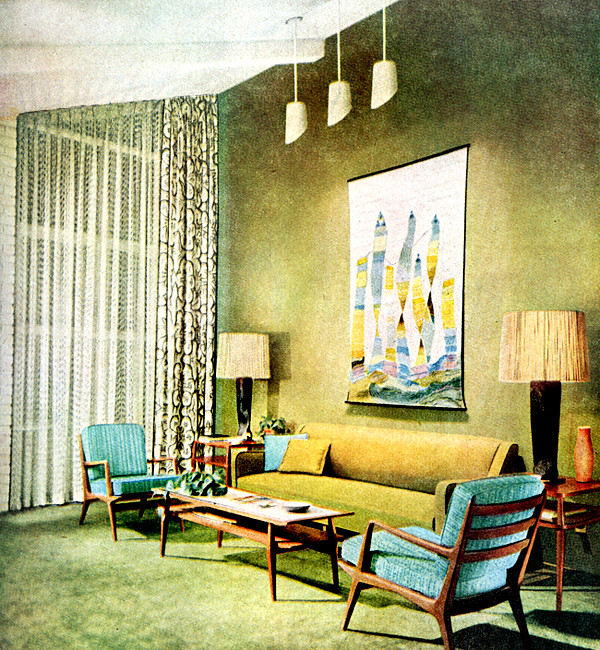 Living room 1955 american home magazine 1955 for Magazine living room ideas