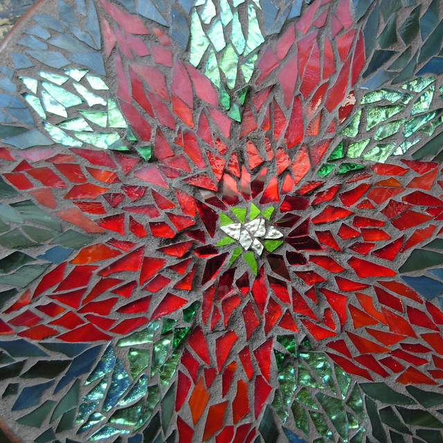 Poinsettia Mandala Mosaic 2010 Detail By Margaret Almon