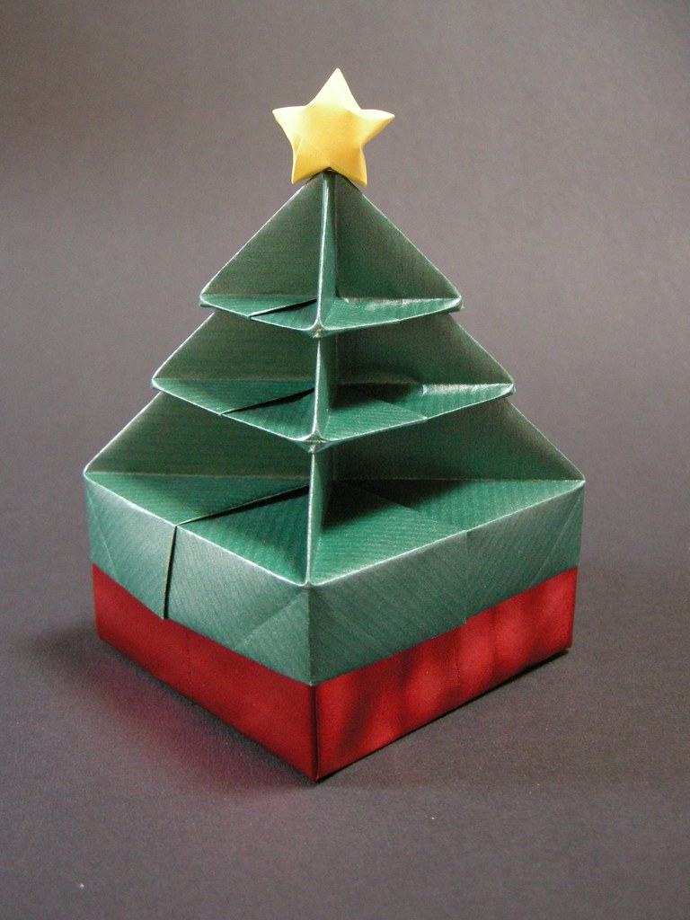 Christmas tree box folded from this picture with some for Christmas tree in a box