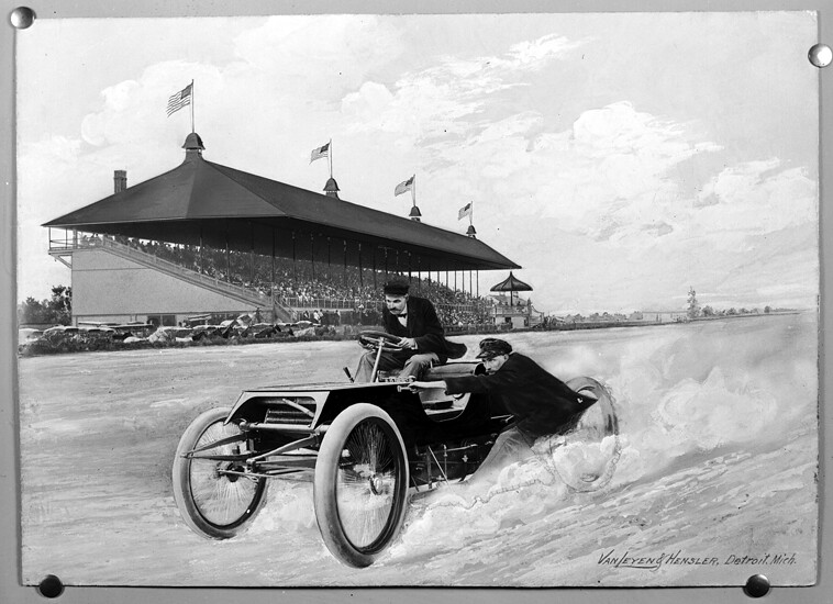 Composite image depicting henry ford and ed spider huff for Ford motor company driver education series