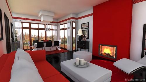 Salon rojo blophome hemosos sal n en color rojo negro y for Decoracion de salones en rojo gris y blanco