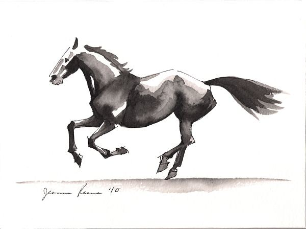 Running Horse Watercolor Sketch | A recent watercolor and ... - photo#29