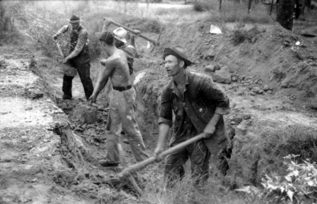 Ben Lawrence And Three Other Men Hand Digging A Ditch On A -6639