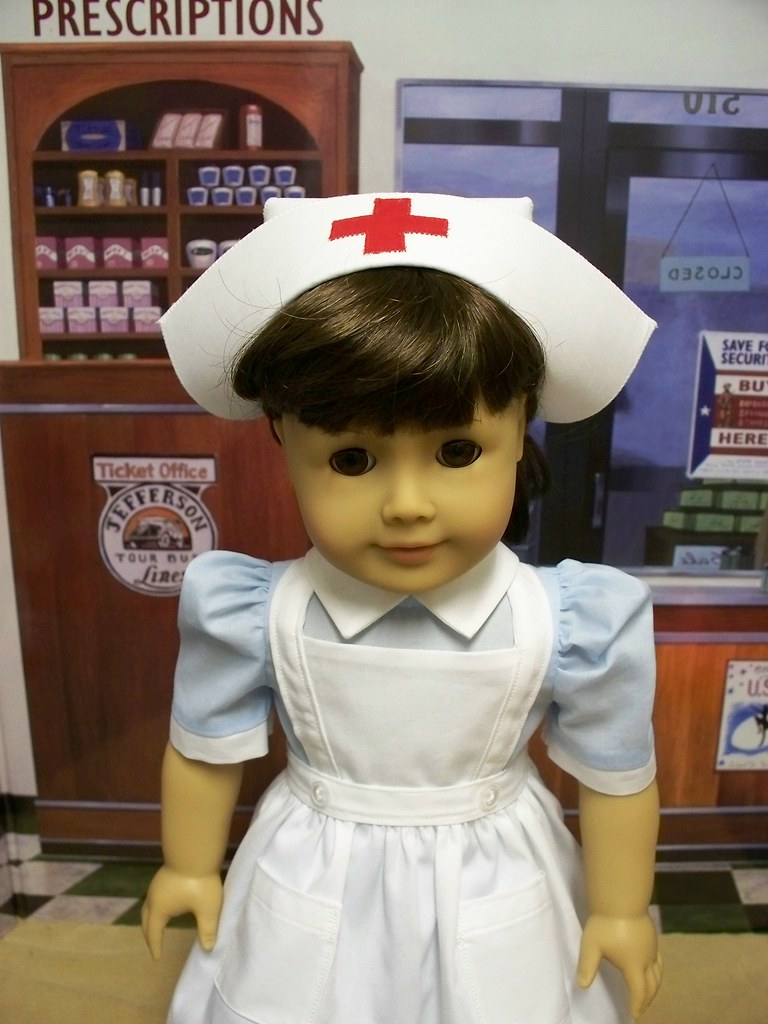 1940 S Nurses Cap Crisp White Cap With Red Cross On Top