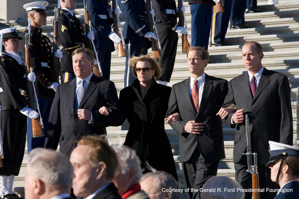 The Ford Family Follow The Casket Of President Ford On The
