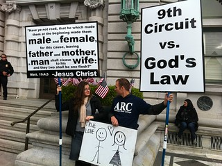 Anti-equality folks outside the courthouse | by courage.campaign