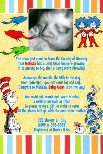 Dr. Seuss Unisex Baby Shower Invitation | Outrageously ...
