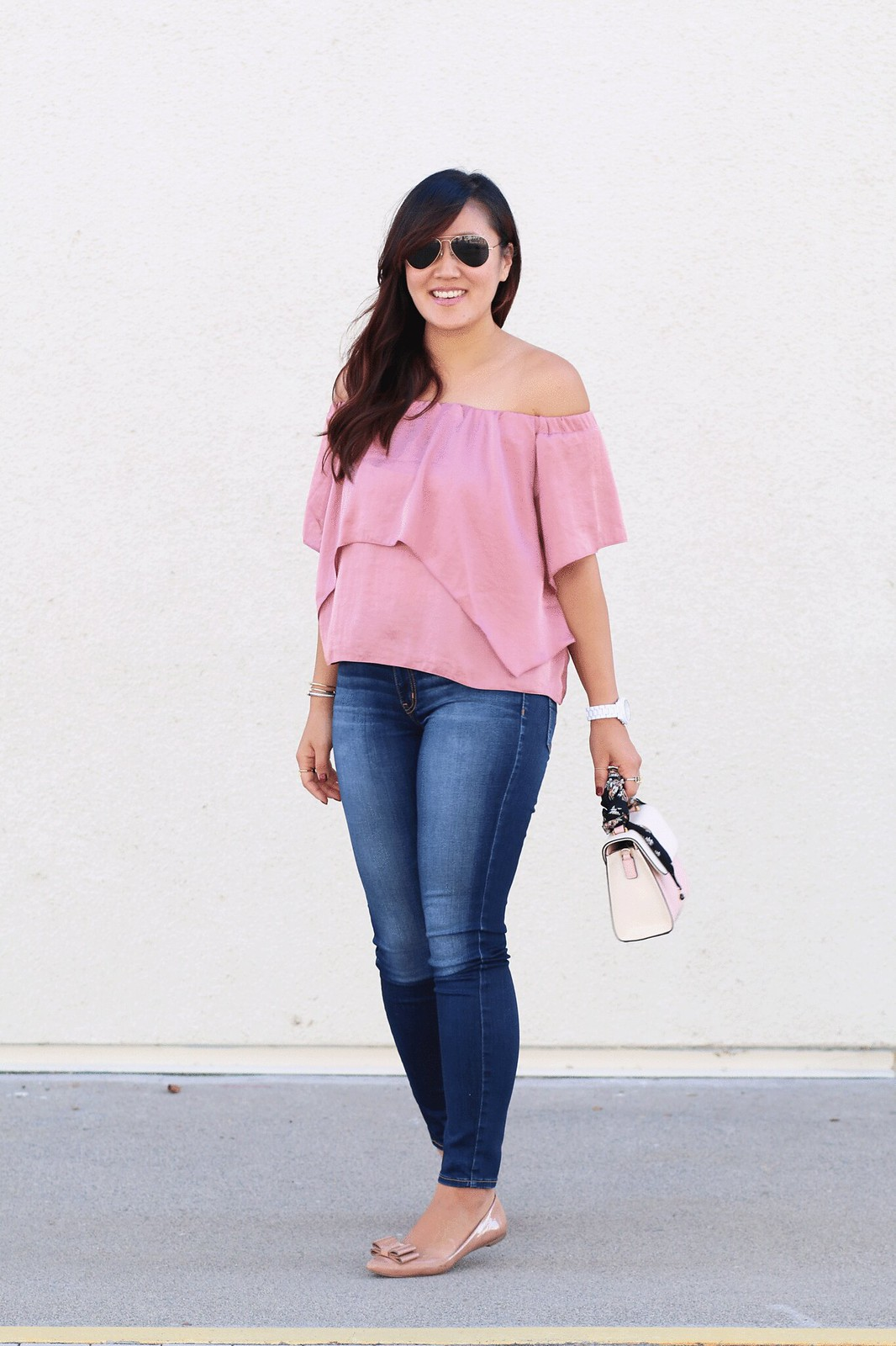 simplyxclassic, silky pink off the shoulder top, dusty rose top, blogger, fashion blogger,
