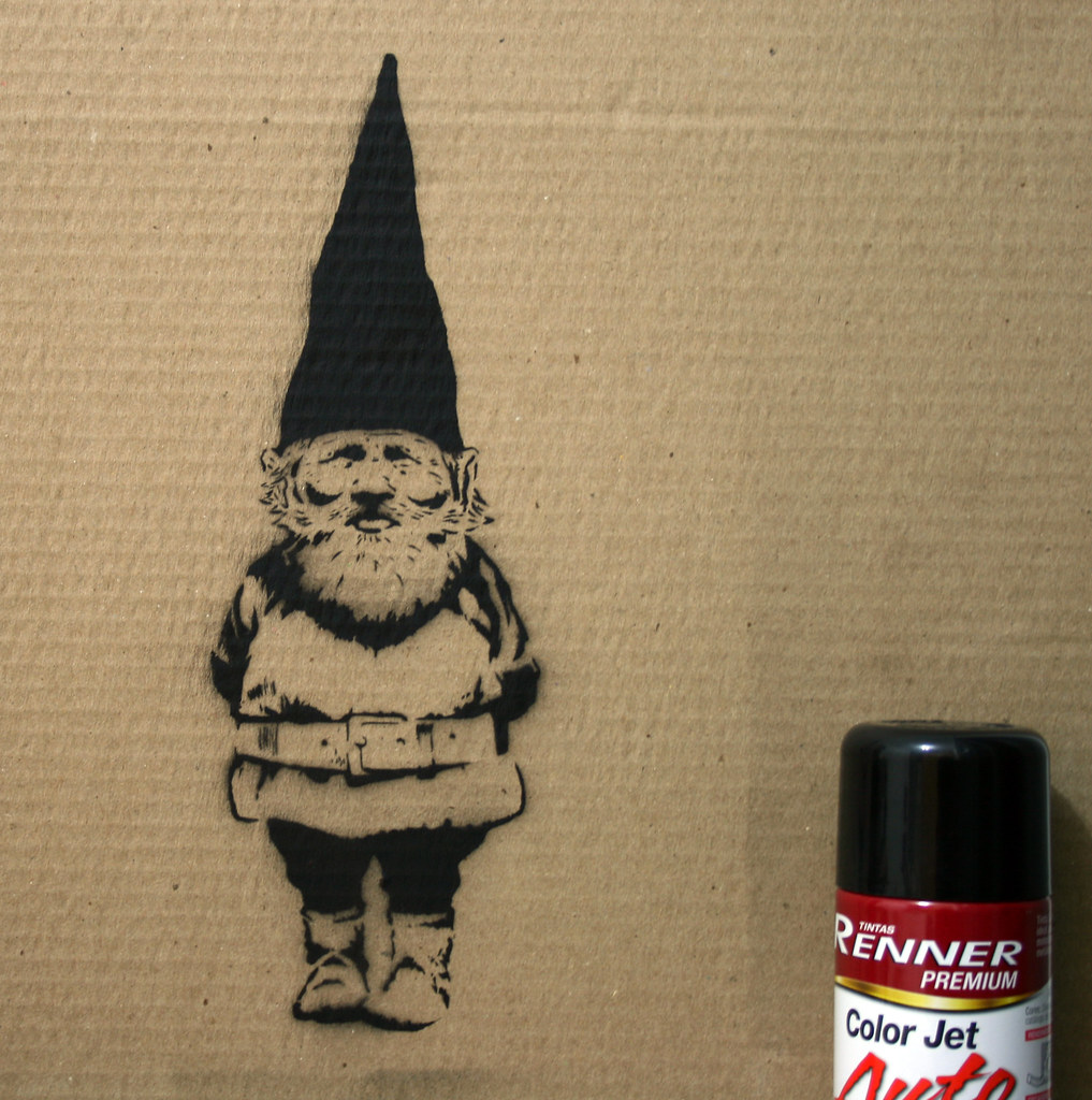 my very first decent spray paint stencil gnome illustratio. Black Bedroom Furniture Sets. Home Design Ideas