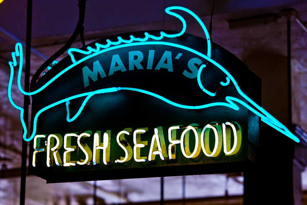 Maria 39 s fresh seafood grand central public market 317 s for Fresh fish market los angeles