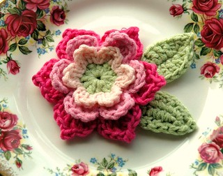 Pink and Green Crochet Flower | by AnnieDesign