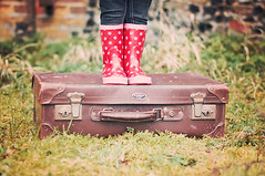 New rain boots. Old Suitcase. by UKBecca