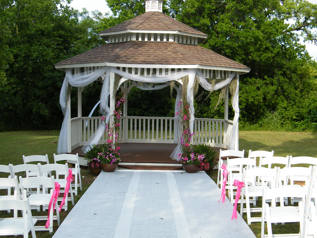 Gazebo stage triple wide runner leading up to linen and for Outdoor wedding gazebo decorating ideas
