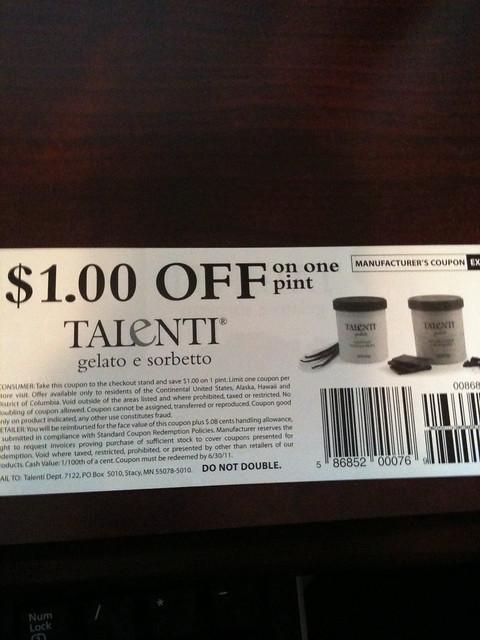 Talente gelato or sorbetto coupon - Flickr - Photo Sharing!
