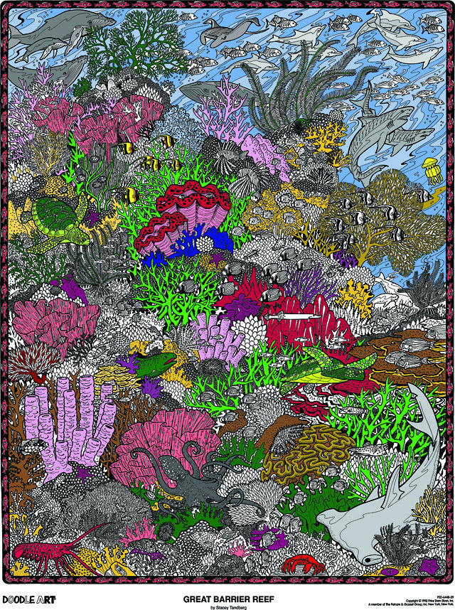 Doodle Art Great Barrier Reef Coloring Page Poster Flickr