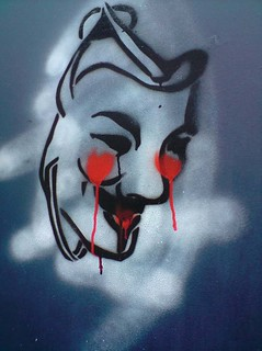 V for Vendetta mask stencil crying | by OperationPaperStorm