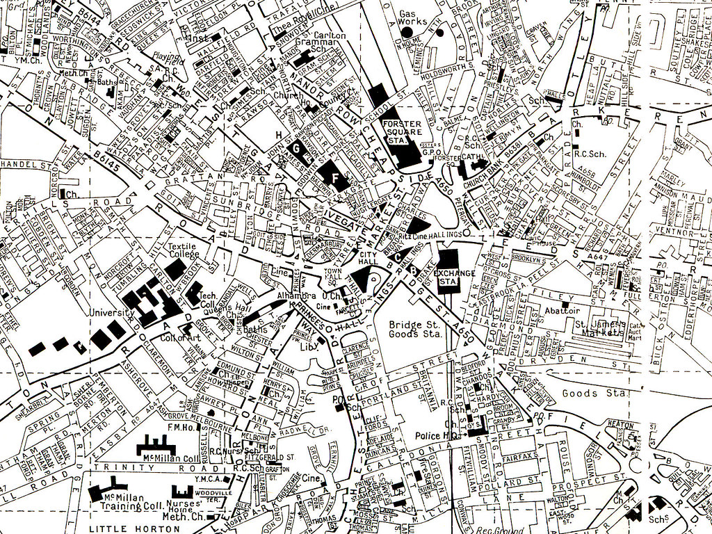 1970s - City centre | Burrow's Reference Map | Bradford