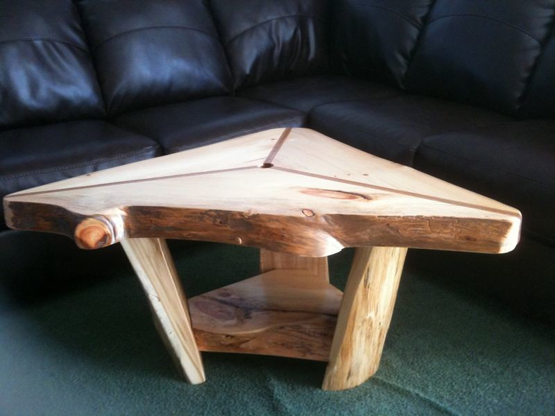 Triangle Rustic Coffee Table Solid Three Inch Thick
