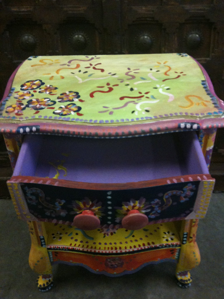 Hand Painted Furniture Sixties Vintage Night Stand
