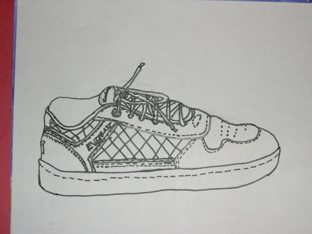 Contour Line Drawing Shoes Lesson Plan : Contour line drawing shoe black marker on white