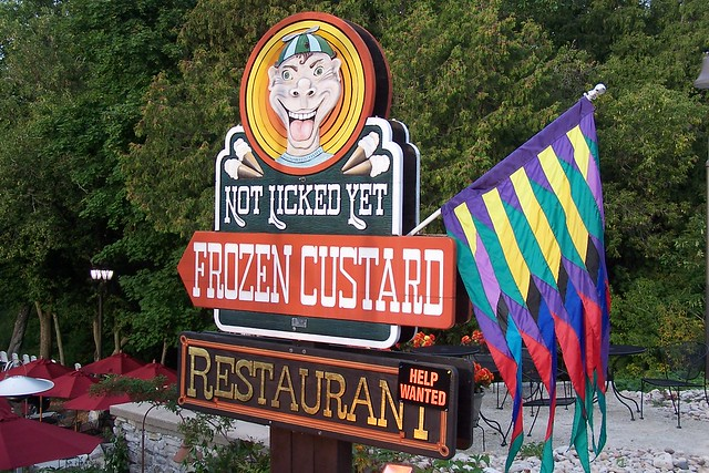 Not licked yet frozen custard sign flickr photo sharing for Fish creek wi weather