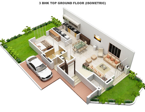 Ground floor of a 3 bhk villa at alfa green fields near ta for Four bhk bungalow plan