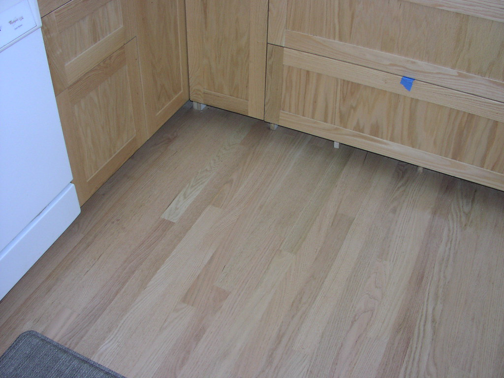 Unstained red oak floor cabinets the cabinets were Unstained hardwood floors