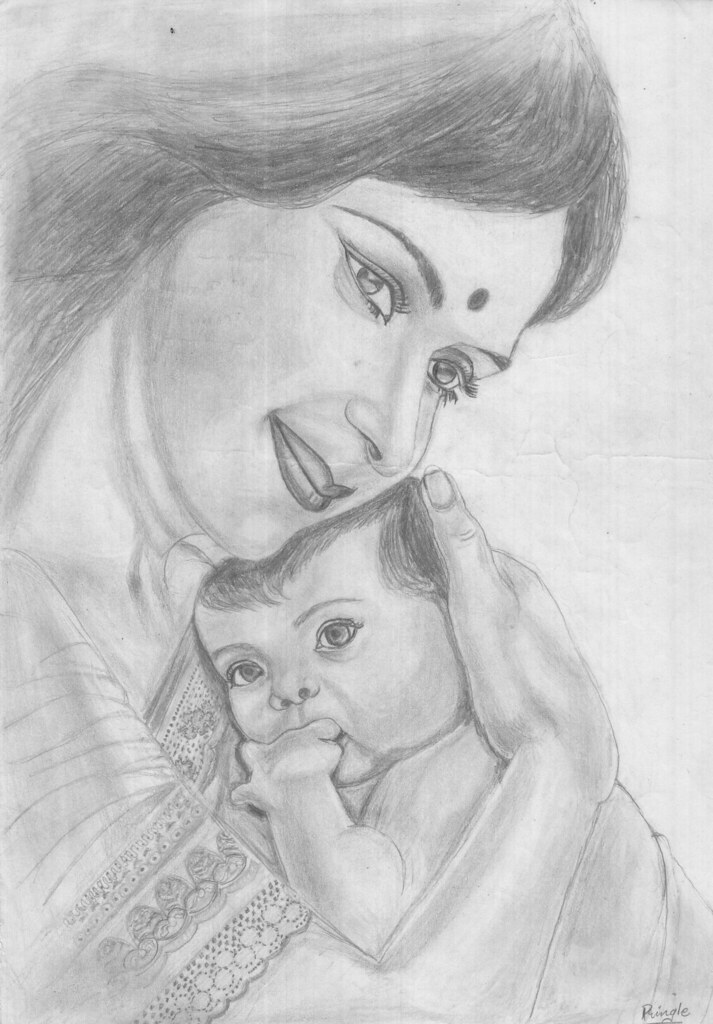 pencil drawing 7_Pringle | mother's love | Honey Pringle ...