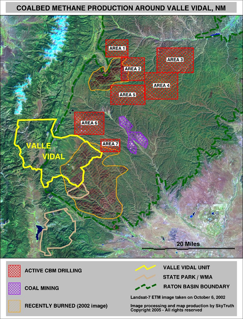 Satellite Map Of Valle Vidal Region And Raton Basin New M