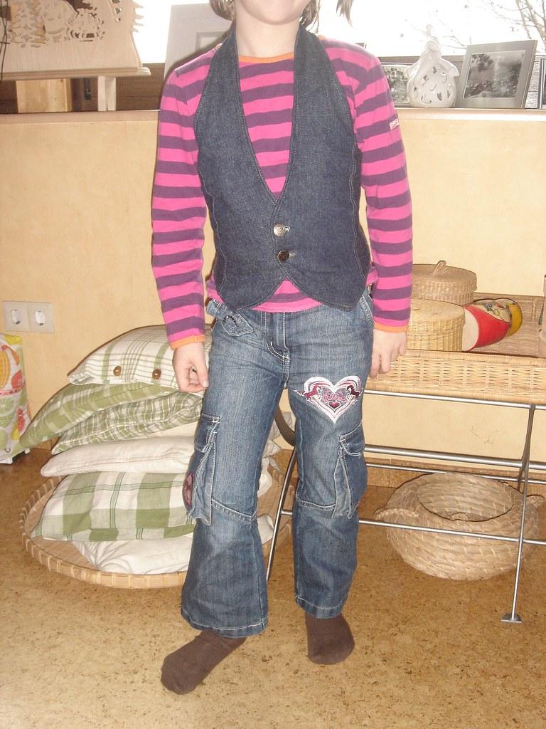 Restiching Unterseite der Jeans