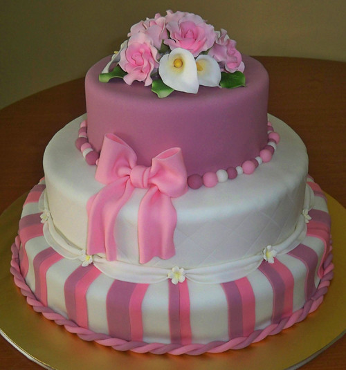 Kek Perkahwinan Fondant Tema Pink Purple Choc N Cheezz