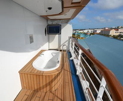 Oceania marina owner suite balcony with hot tub each of for Balcony hot tub
