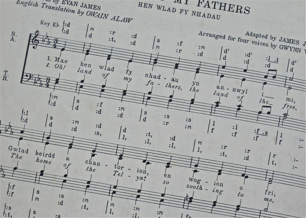 Land of my fathers sheet music Welsh National Anthem