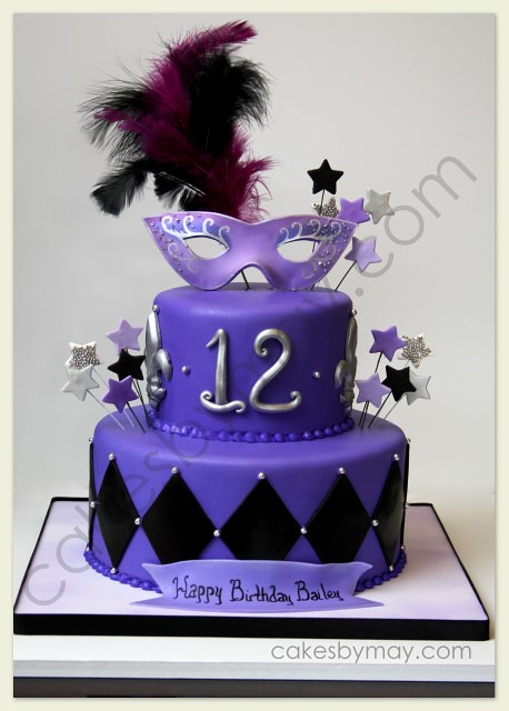 Mardis Gras Cake Purple Black And Silver Were The