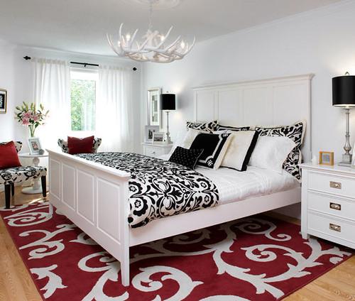 Decoração Quarto casal preto, branco e vermelho  by Jessica Santin