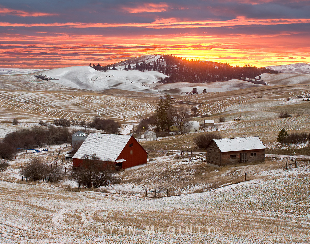 Palouse Winter Viola Farm Sunset 2 Viola Idaho Winter